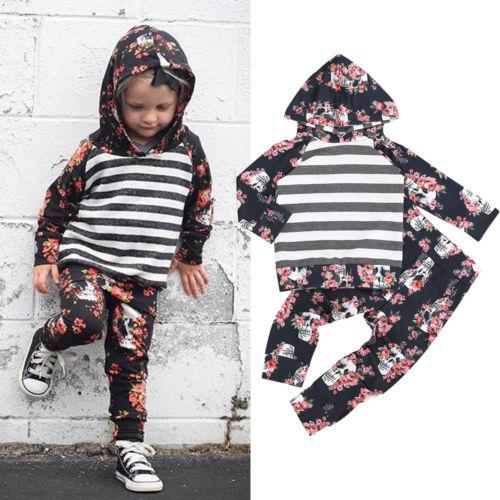 fb7fe89c0 Floral Newborn Toddler Baby Girls Hoodies Tops Striped Pants ...