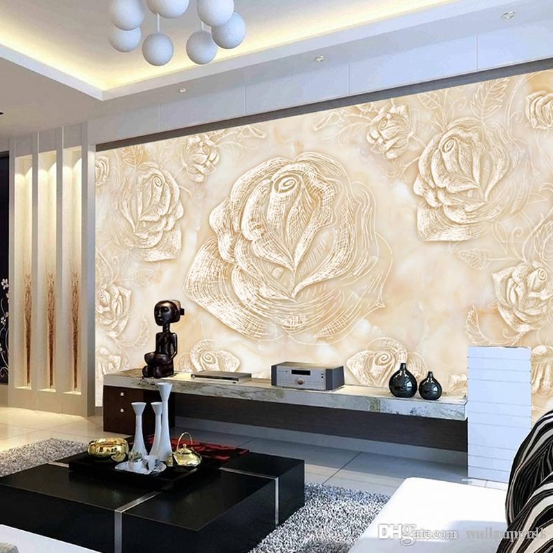 Personnalisé photo murales salon chambre à coucher décor à la maison papier  peint style moderne murale grande fleur rose fond d\'écran étanche