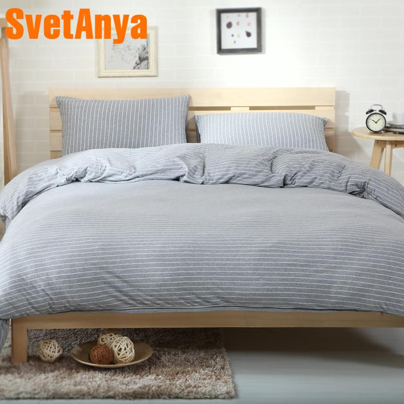 Svetanya 2018 Knitted Cotton Bedlinens Gray Stripe Printing Bedding Sets  Pillowcase Flat Or Fitted Sheet Quilt Cover Chenille Bedding Contemporary  Duvet ...