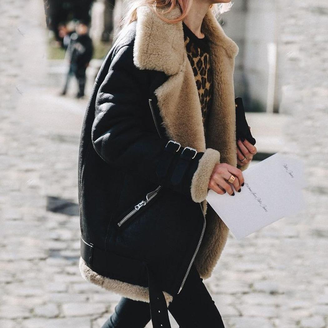 4cd33a4b3e4a 2019 2018 Winter Women Faux Suede Motorcycle Biker Jacket Faux Fur Coats  Autumn Warm Lamb Wool Coat Fashion Female Zipper Outwear From Liuyang2016