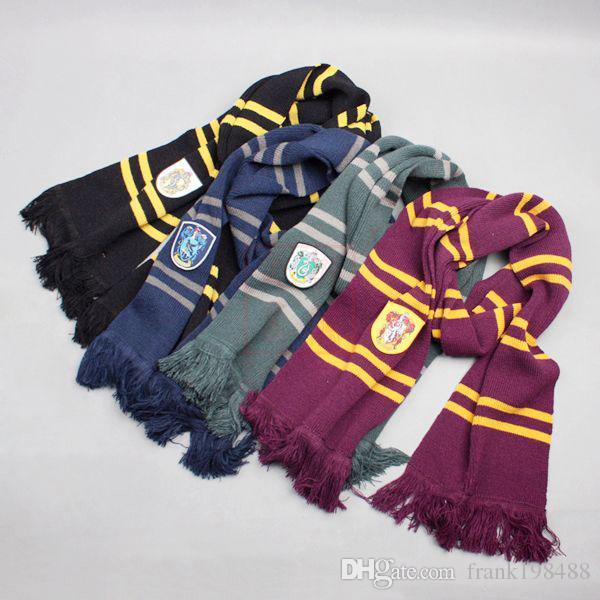 Harry Potter Schals Winter Warm Quasten Schal Ravenclaw / Gryffindor / Slytherin / Hufflepvff Magie Schule Schals Hallowen Geschenk Großhandel