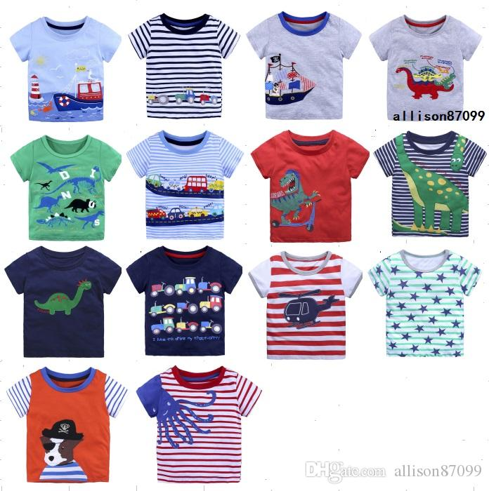 797c6c2109bcdd 2019 Hotsale Kids Clothing T Shirts Boys Cartoon Tees Unicorn Children  Clothes Sailing Boat Dinosaur Cars Short Sleeve Cotton 2018 Summer 18M 6Y  From ...