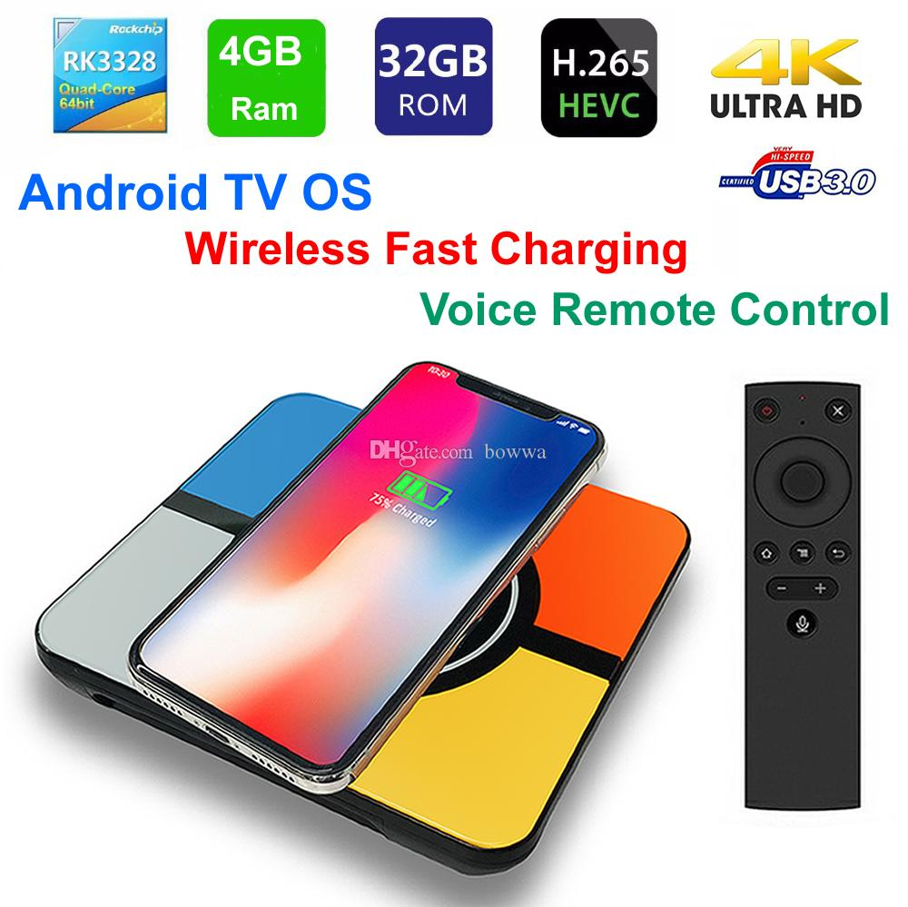 S10 Plus Smart TV BOX Wireless Fast charging Android TV OS RK3328 Quad Core  4GB 32GB WIFI 3D 4K USB3 0 with Voice Remote Control