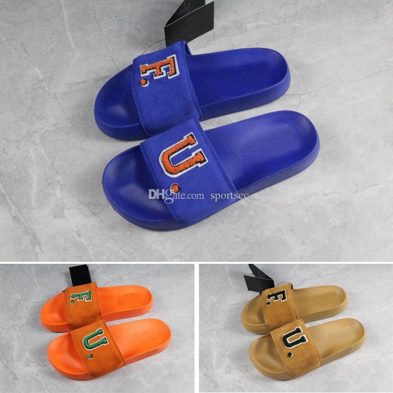 f819626c7aca Rihanna Leadcat Fenty FU Slides Blue Orange Wheat Slipper Glass Slipper  Blue Shoes From Sportscc