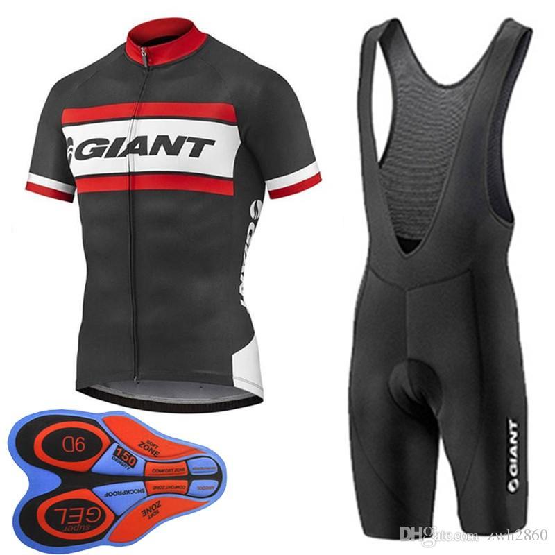Al por mayor-GIANT equipo de ciclismo de manga corta jersey babero pantalones cortos establece 9D gel pad Top Brand Quality Bike sportwear D1627