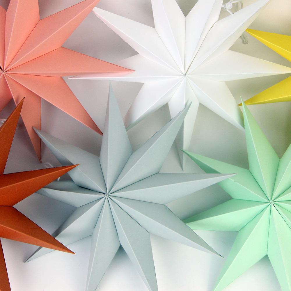 30 cm 1x Papel Dobrado Estrelas Lanternas 3D Pendurado Estrelas de Papel para Festa de Casamento Festa de Noite Festa de Noite de Aniversário de Casamento ...