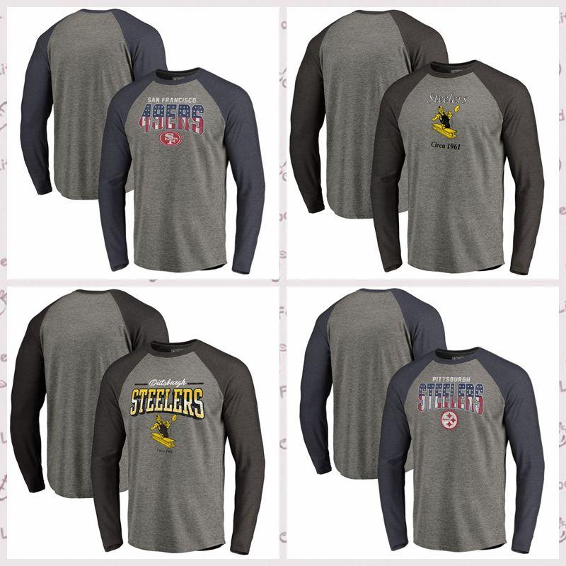 new style 39d4a 529f8 San Francisco 49ers Pittsburgh Steelers Pro Line by Fanatics Branded  Freedom Long Sleeve Raglan T-Shirt Heathered Gray GrayBlack