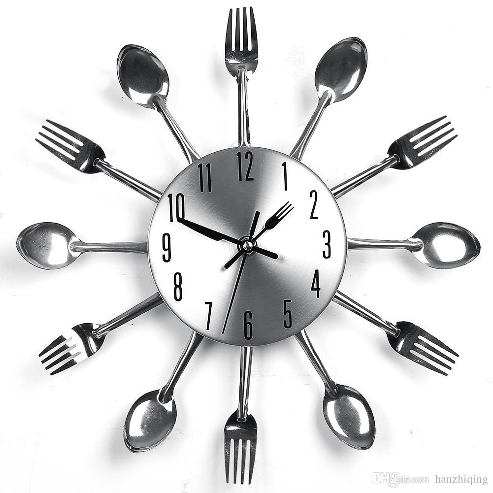Acheter 2018 nouvelle cuisine horloge murale sliver couverts horloges fourchette couteau for Horloge couvert