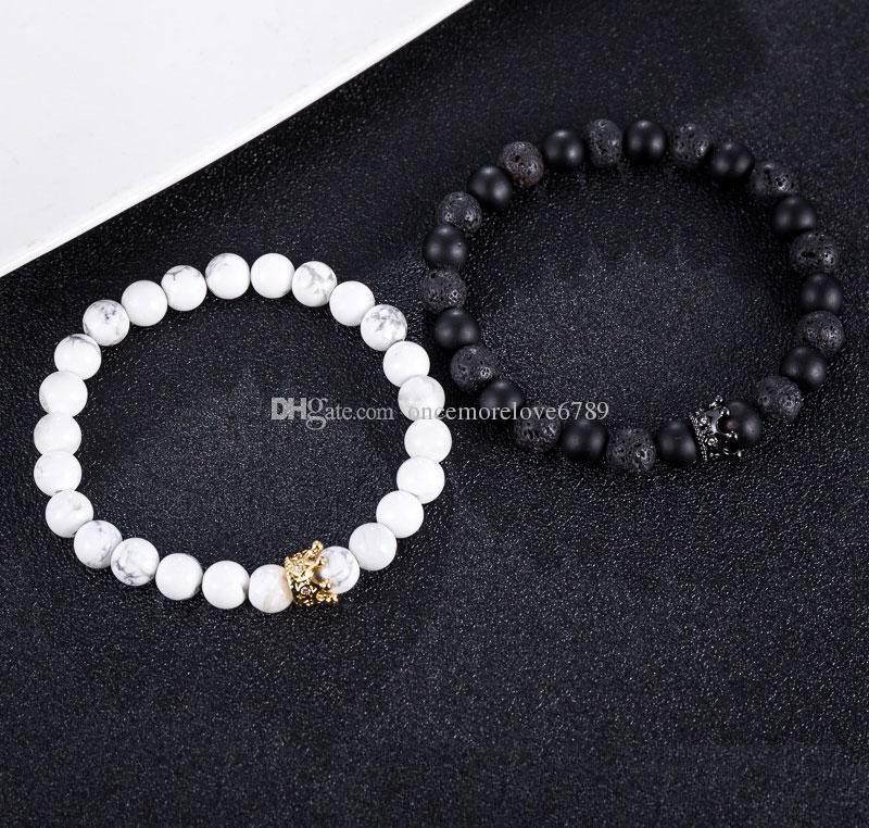 Nouvelle Pierre Volcanique Couple Bracelets Couronne Naturelle Chakra Énergie Perles Bracelets Brins Bijoux Accessoires Amant Cadeau Livraison gratuite