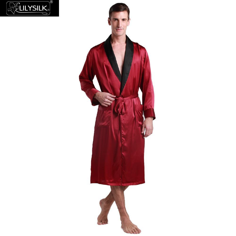 8d0fdf7432 2019 Lilysilk 100% Silk Bath Robe Male Mens Chinese Kimono Long 22 Momme  Long Sleeve Contrast Collar Luxury Wedding Sleepwear Brand From Ritalei