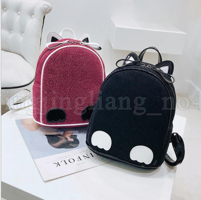 Street Women Backpack Fashion Girl Mini Cat Ears Backpack Schoolbag for Teenager Ear Mini Shoulder Bag KKA5538