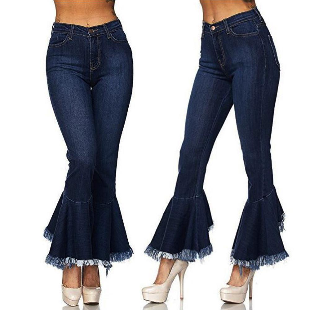 70aef2151a Compre 2018 Invierno Negro Cintura Alta Flare Jeans Mujeres Hight Waisted  Skinny Hole Denim Jeans Stretch Slim Pantalones Pantalones Campana Jean A   31.76 ...