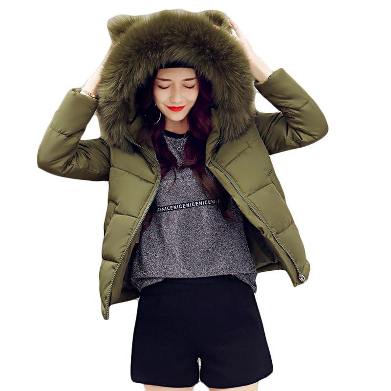 1604dac566c4 Großhandel 2018 Frauen Winter Jacken Mädchen Nette Kurze Cocoon Mantel  Weibliche Warme Ohr Große Pelz Mit Kapuze Starke Gepolsterte Jacke Outwear  Parkas ...