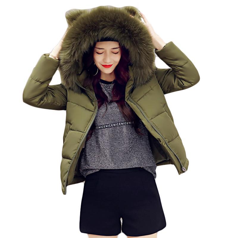 43e418f63 2019 2018 Women Winter Jacket Girls Cute Short Cocoon Coat Female ...