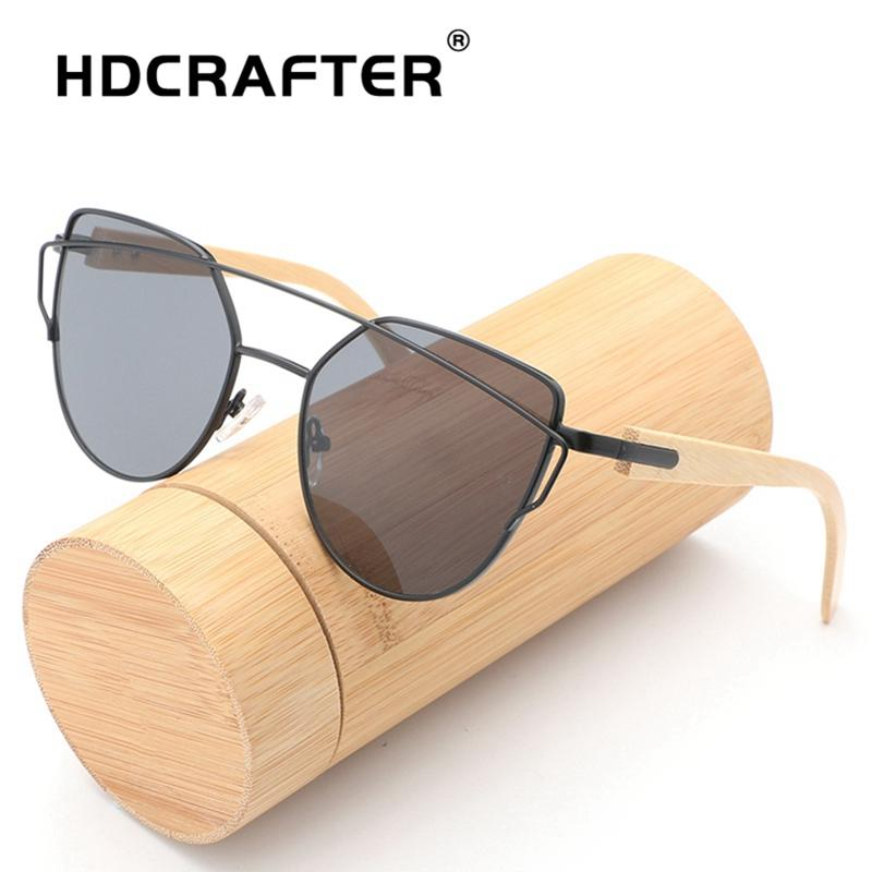 57a2d377e5e HDCRAFTER Bamboo Vintage Women Sunglasses Cat Eye Eyewear Brand Designer  Retro Sunglass Female Oculos De Sol UV400 Sun Glasses Sunglasses Case  Knockaround ...