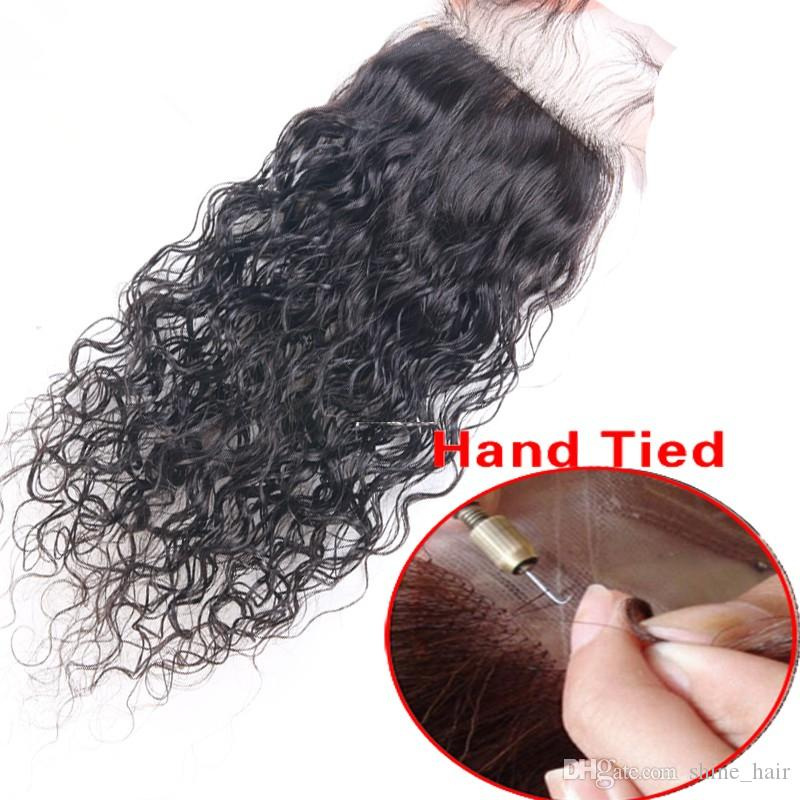 Virgin Malaysian Wet and Wavy 4x4 Silk Base Closure With 3Bundles Water Wave Malaysian Virgin Hair Weaves With Silk Top Closure