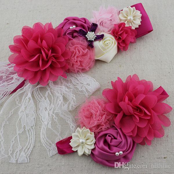 Yeni Kızlar Kadınlar Sash Elastik Kafa Seti Ile Şifon Dantel Çiçek Hamile Kadınlar Kız Kemer Kanat Annelik Kanat Fotoğraf Prop
