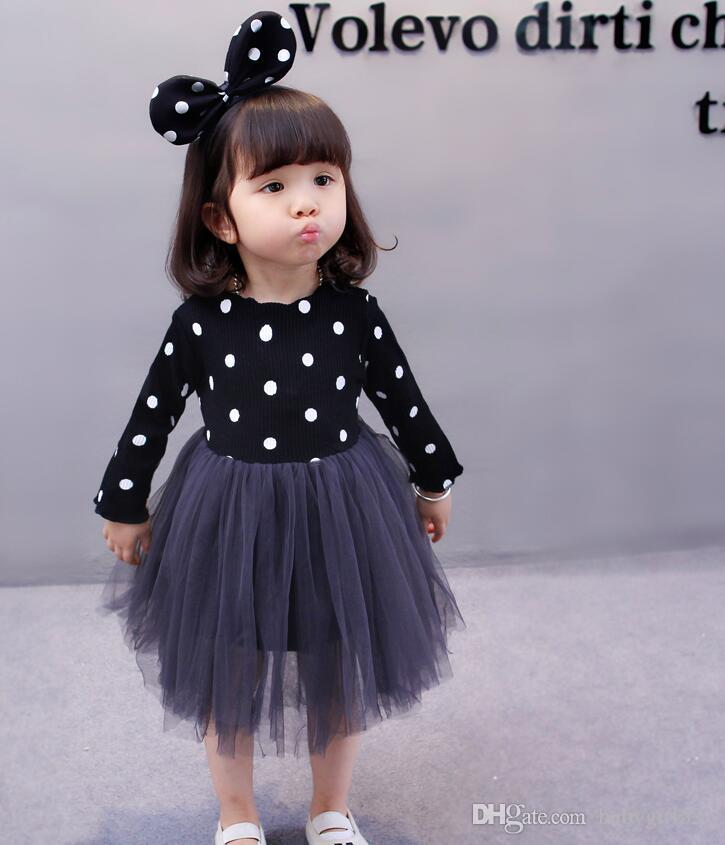 54ceb1f647 Hot Sale 2019 New Fashion Flower Girls Princess Dresses Dots Kids Baby  Tulle Tutu Party Wedding Pageant Long Sleeve Gowns With Sleeve Daily Dresses  For ...
