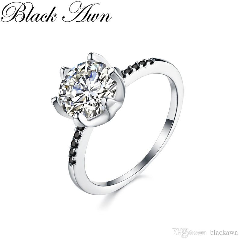 4921e046cb33cf Acheter noir Awn Anneaux De Mariage Pour Les Femmes 2.6g Solide 925 Bijoux  En Argent Sterling Noir Pierre Zircon Bague De Fiançailles Bague C362 De   8.39 Du ...