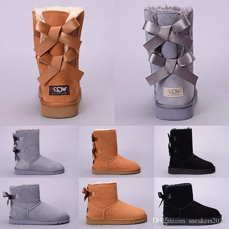 c81282004607 2019 Women Winter Snow Boots Australia WGG Boot Lady Girl Tall Short Kneel  Ankle Black Grey Navy Blue Red Casual Outdoor Shoes Discount Online From ...