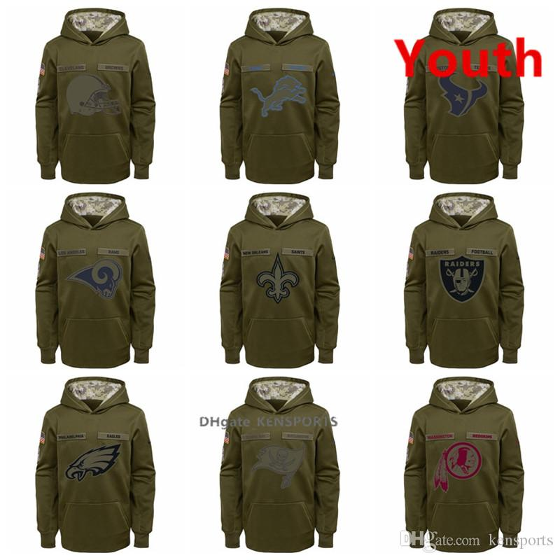 online store 37a60 bb067 Youth Philadelphia Eagles Tampa Bay Buccaneers Washington Redskins New  Orleans Saints Salute to Service Pullover Performance Hoodies