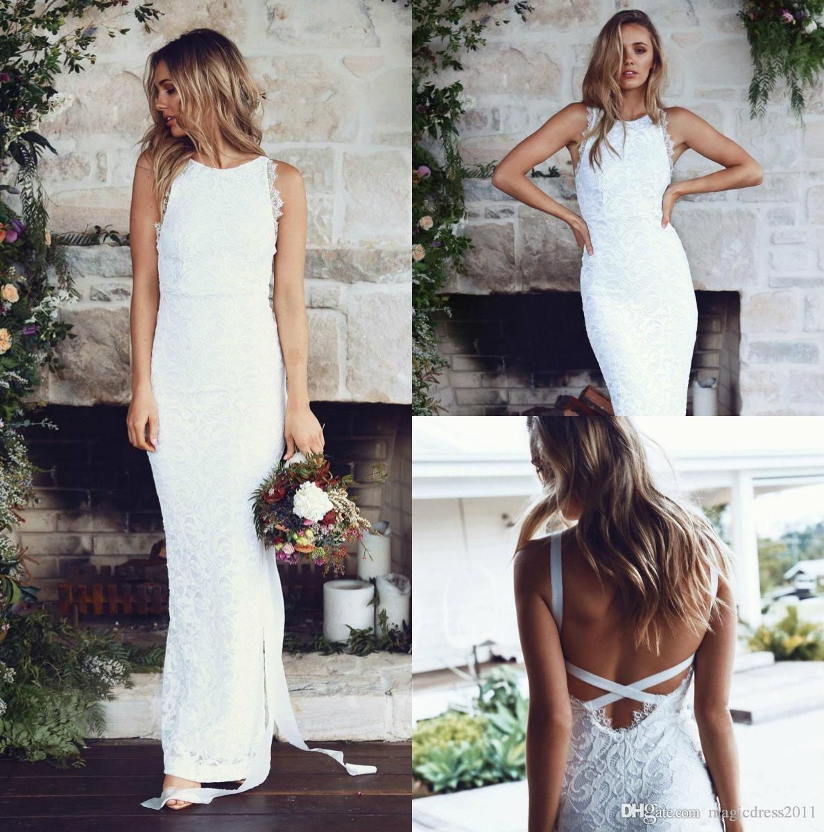d279ece9c9 2018 New Sexy Simple Beach Wedding Dresses Bateau Neck Lace Bridal Gowns  Backless Boho Bridal Gowns Custom Made Formal Dresses Wedding Dresses  Affordable ...