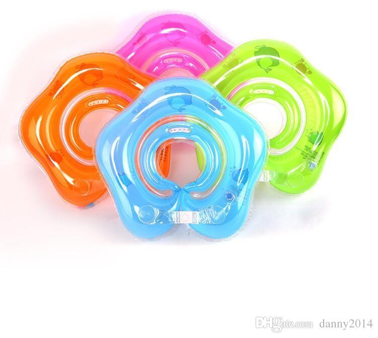 Anillo de natación de cuello inflable recién nacido flotadores de baño de bebé ajustado bebé anillo de tubo inflable juguete de piscina de seguridad