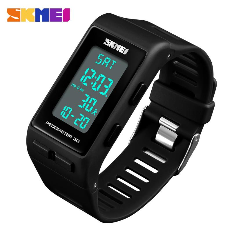 SKMEI Brand Mens Watches Rectangle 3D Pedometer Calories Digital Wrist watch Men Outdoor running Electronic Sports Watches