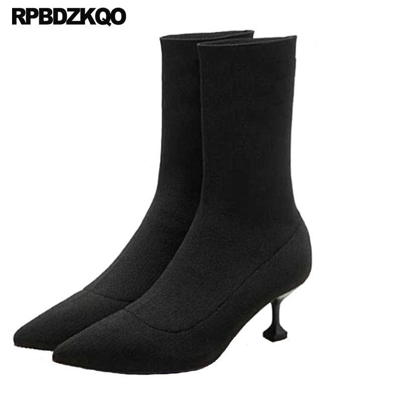 Designer Schuhes Damens Luxury 2018 Stiefel Lycra Slip Sock Slip Lycra On Pointed ... cb5e91
