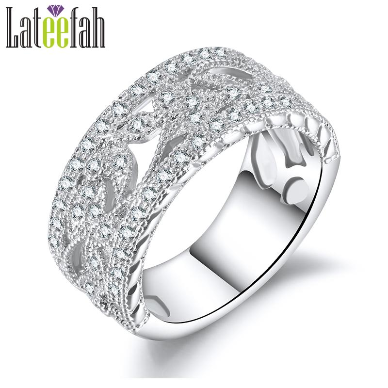 Vintage Wedding Band.Whole Salelateefah Vintage Wedding Band Rings For Women Flower Leaf Filigree Silver Color Engagement Ring For Girlfriend Gift Anel Bague