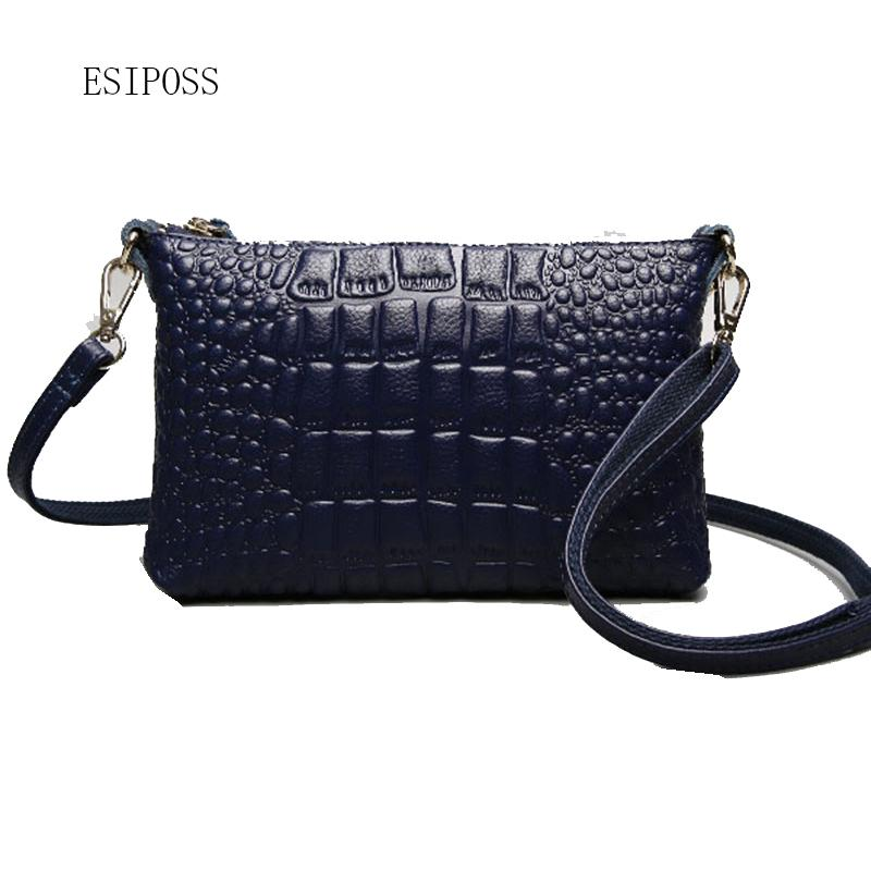 fc40626aeec 2018 Fashion Women'S Handbag Genuine Leather Crocodile Paern Cow Leather Women  Clutch Shoulder Bag Female Crossbody Small Bag Handbag Brands Silver Clutch  ...