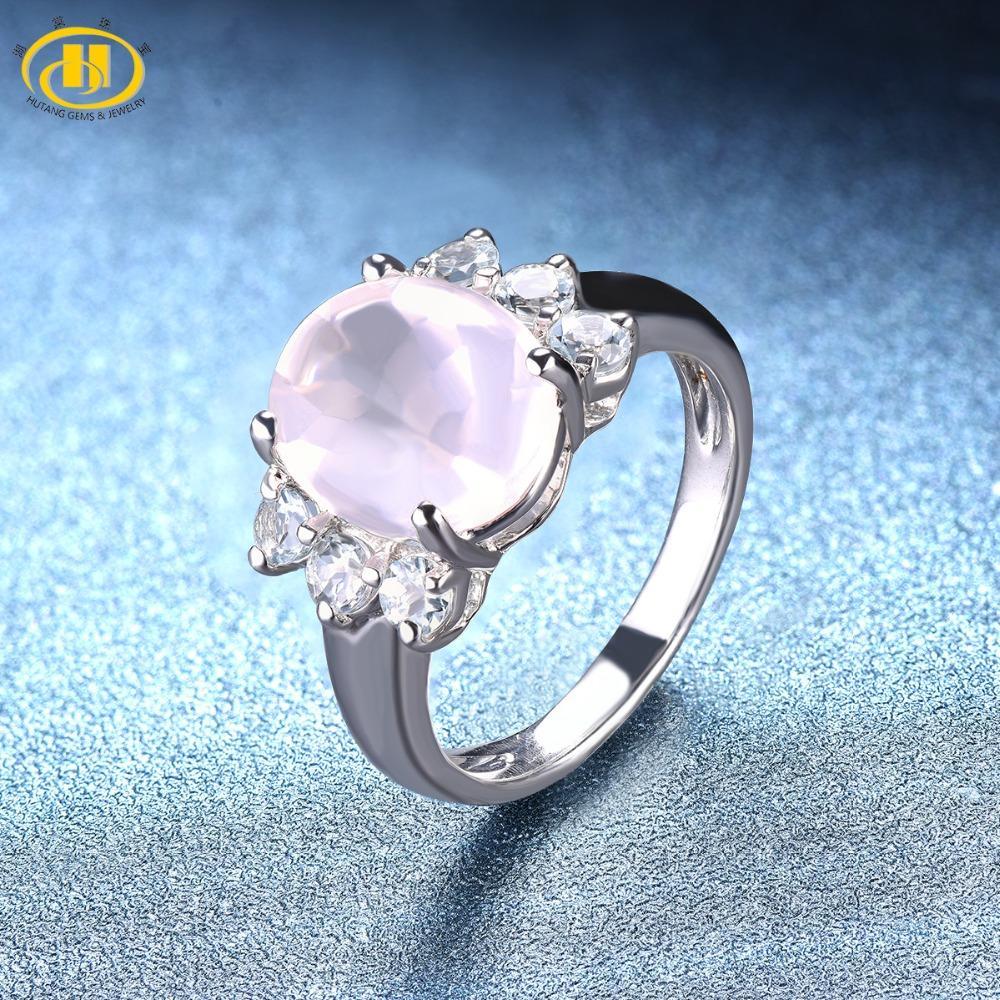 2019 Hutang Rose Quartz Wedding Ring Natural Gemstone Sky Blue