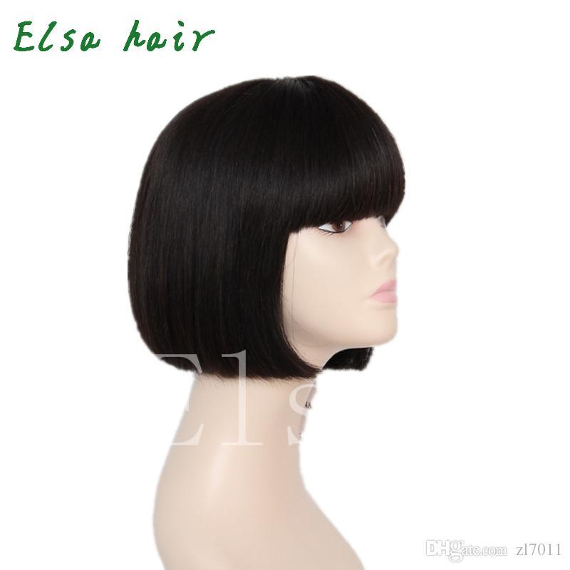 Celebrity Pas Cher Bob Court Perruques Brésiliens Vierge Cheveux Raides En Dentelle Avant de Cheveux Humains Perruques Pour Les Femmes Noires perruques faites à la machine avec Bangs