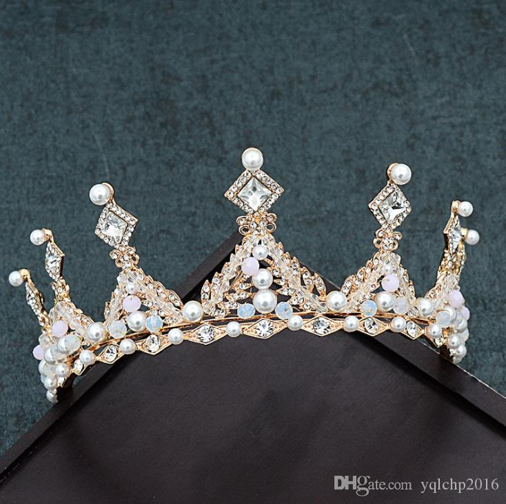 2018 new golden wedding crown, wedding simple air accessories, wedding dresses and accessories.