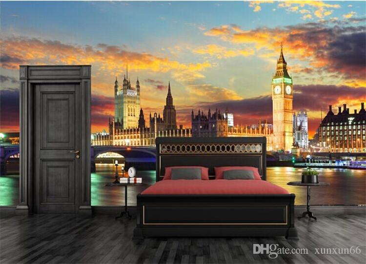 London Night City Mural Scenery Big Ben 3d Wall Mural Wallpaper for Berdroom Sofa Background 3D Murals Fresco 3d Wall sticker
