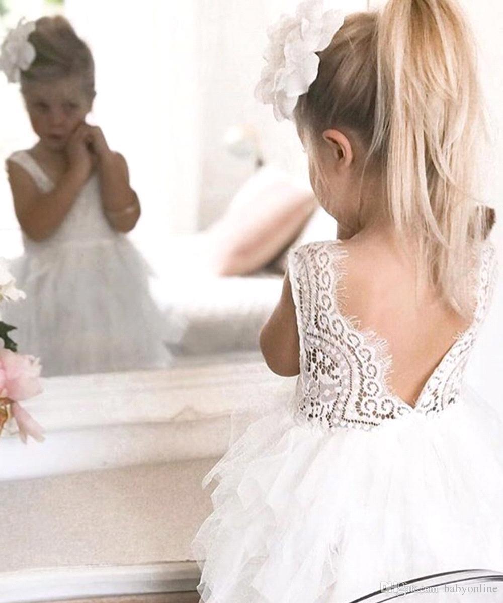 Günstige Reizende Kurze Blume Mädchen Kleider Spitze Rüschen Tüll Tutu Kleid Puffy Kleine Mädchen Formale Hochzeit Party Kleider MC1482