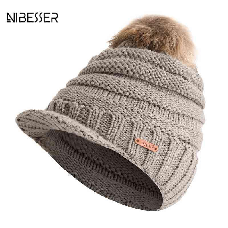 NIBESSER Turban Wrap Ponytail Hats Women S Winter Hats Beanie Big Hair Ball Knit  Cap HatCrochet Ski Hat For Women Knitted Hat Cap Hat From Value333 c72f648ed31