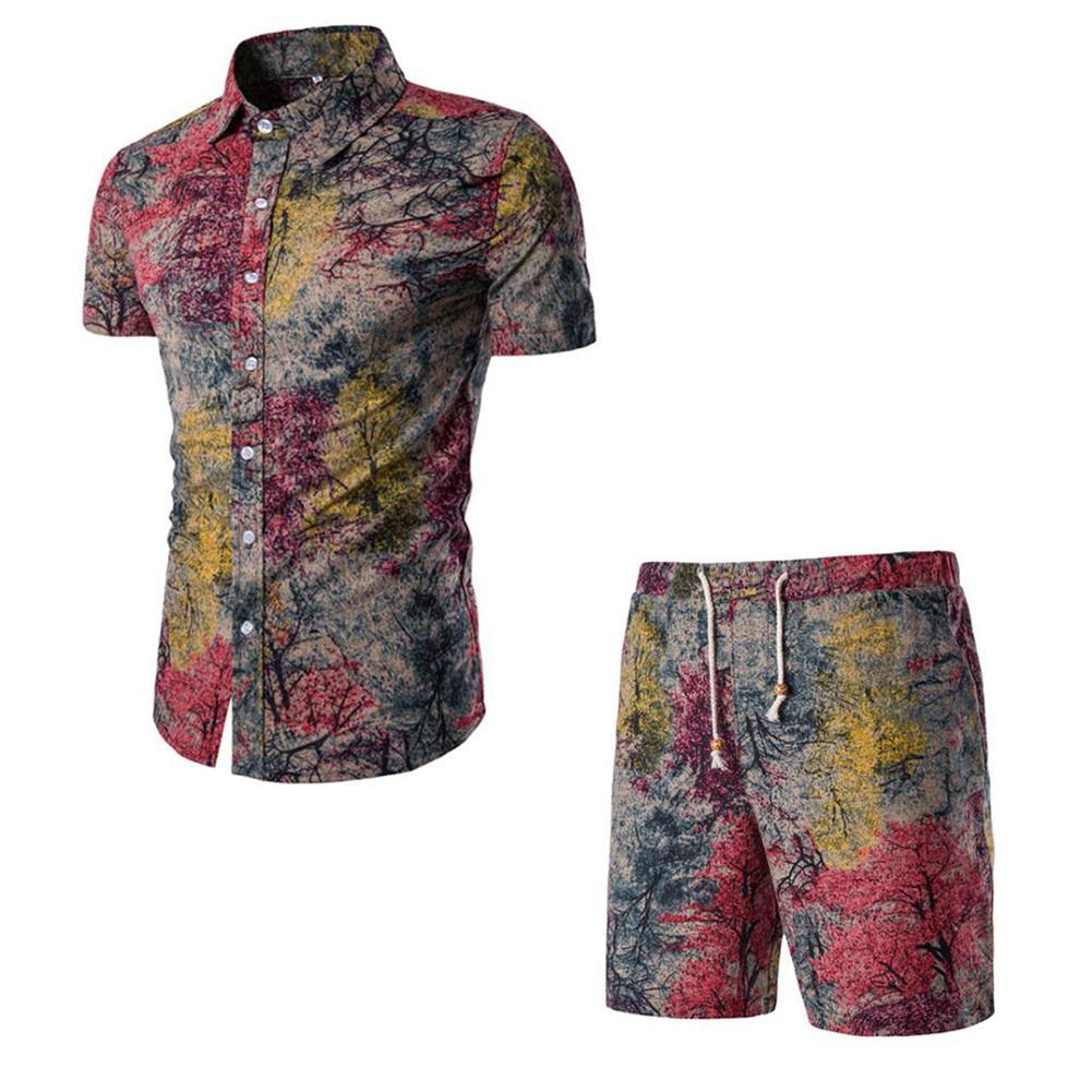 Compre 2018 Moda Mens Camisas + Shorts Set Homens Camisas De Manga Curta  Flor Impressa Terno Magro Masculino Verão Two Piece Treino Plus Size De  Humphray 641533e100ab1
