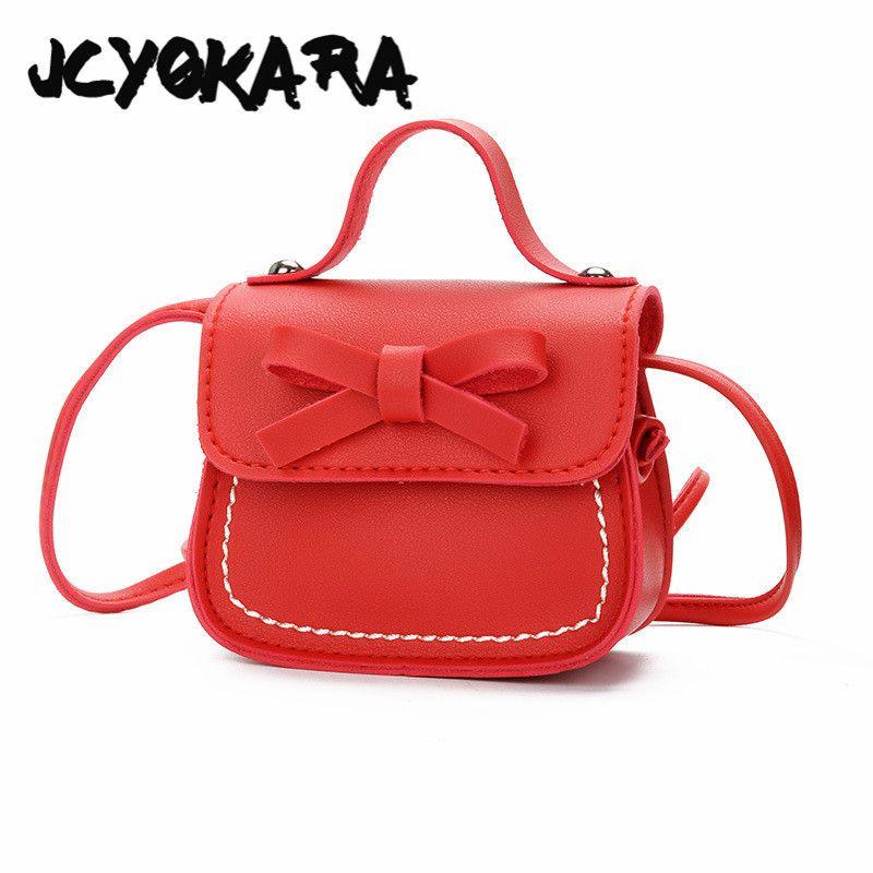 3706a00b65cb JCYOKARA Girls MIni PU Bow Messenger Bag Children Korea Style Simple ...