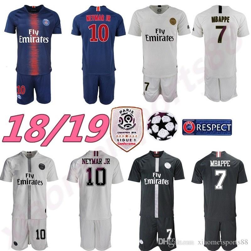 huge selection of 32df8 be674 18 19 MBAPPE PSG soccer jersey uniform set 2018 2019 Paris CAVANI saint  germain DANI ALVES Maillot De Foot away white Football Shirt kit