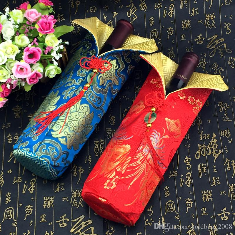 Chinese knot Silk brocade Bag for Wine Bottle Clothes Protective Cover Party Table Decoration Bottle Packaging Bags