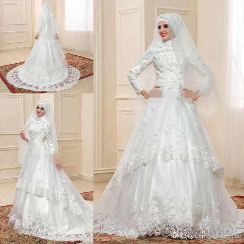 Turtleneck Wedding Gown: Discount Elegant Muslim Turtleneck Wedding Dresses With