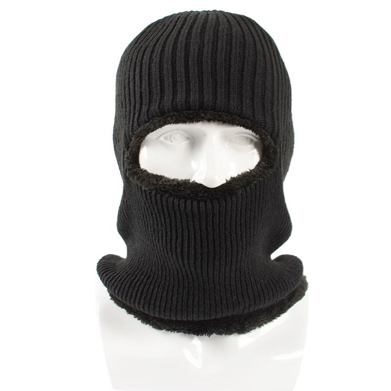 Winter Plush Knitted Hooded Neck Warmer Cap for Women Men Ski Bike Wind  Stopper Face Mask Thick Warm Beanie Hat Scarves Skullies   Beanies Cheap  Skullies ... 5c3496a242a7