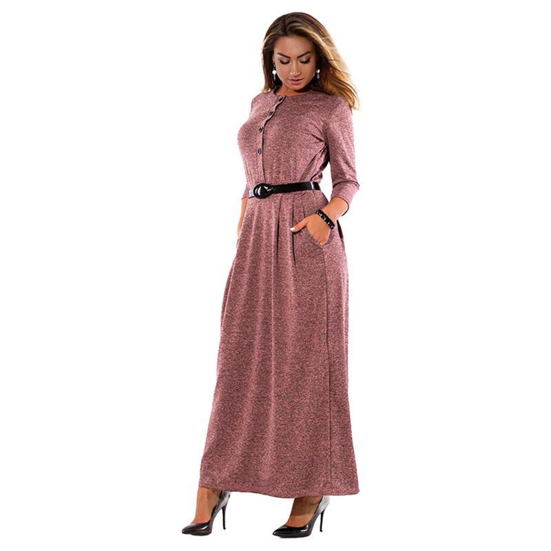 3eb8e565f72 2019 Autumn Winter Dress Big Size 4XL Elegant Long Sleeve Maxi Dress Women  Office Work Dresses Plus Size Women Clothing Pocket Women Floral Dress  Ladies ...