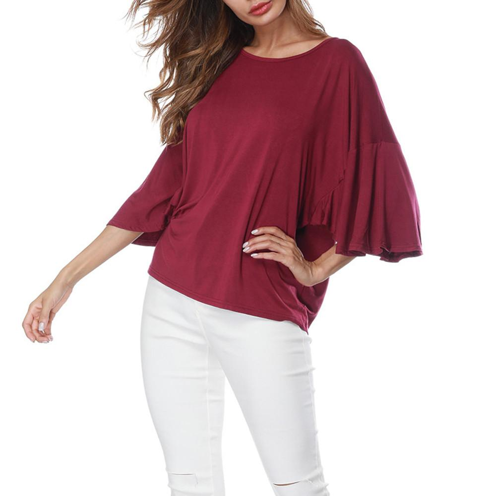 ea2dc6fc841 2019 Summer Tops For Womens Tops And Blouses 2018 Streetwear Flare Sleeve  Shirts Feminina Half Sleeve Blouse Tunic Ladies Top Clothes From Redbud01
