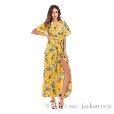0ecf09b086 New Chiffon Women's Dress V-neck Floral Print Beach Casual Dresses Skirt  Sexy Summer New Explosion Short Sleeve Mid Waist A-line Drees Lady