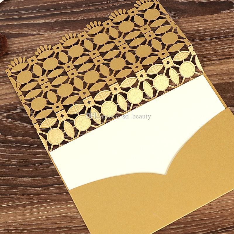 Zarflar ile lazer Kesim Düğün Davetiyeleri Kartları Hollow Klasik Düğün Günü Akşam Davetiyeleri Kart Kırmızı / Altın / Beyaz 38873
