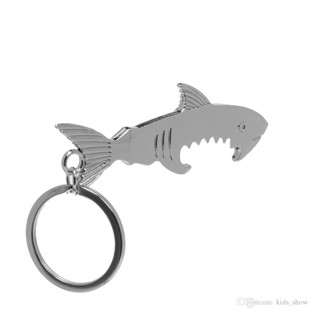 Shark Shaped Bottle Opener Keychain shaped zinc alloy Silver Color Key Ring Beer Bottle Opener Unique Creative Gift
