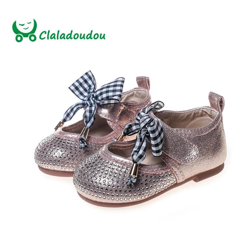 e85a5a283778 Claladoudou 11.5 13.5CM Full Rhinestone Baby Shoes Autumn Pu Leather Bowtie  Black Infant Party Shoes Pink Princess Toddler Dress Kids Leather Shoes  Online ...