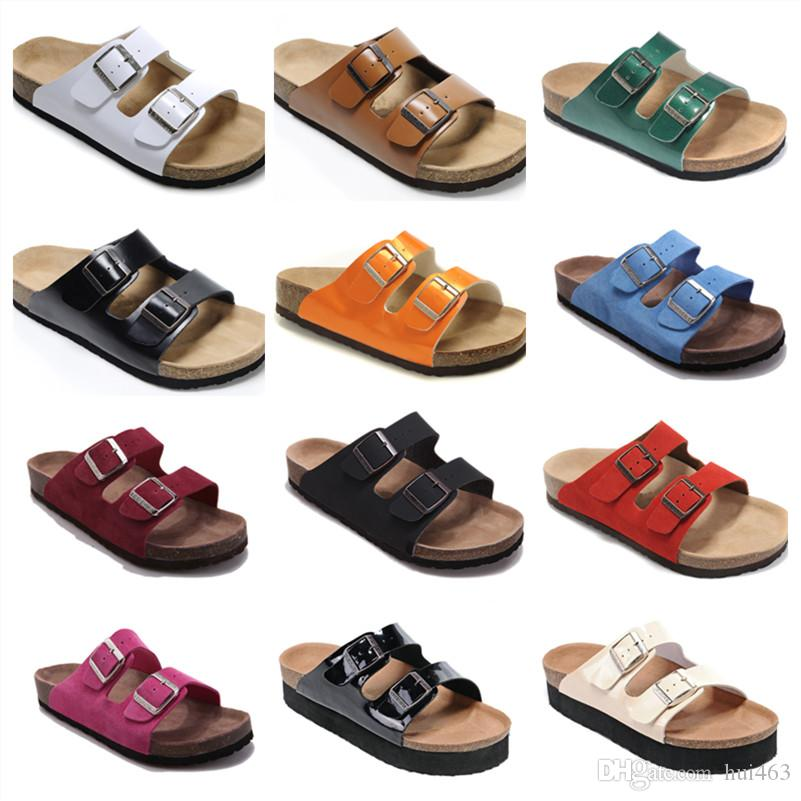 3b87741a9 Male Flat Sandals Women Double Buckle Shoes Male Summer Beach Shoes Top  Quality Comfortable Genuine Leather Slippers Famous Brand Arizona High  Heels Shoes ...